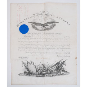 Edward O.C. Ord, 1866 Military Commission to Brigadier General, Stamped by Andrew Johnson