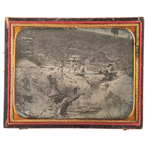 Half Plate Daguerreotype of a California Gold Mining Camp, with Portraits of Two Featured Subjects
