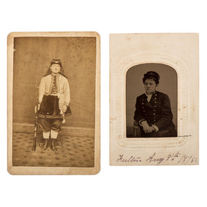 Civil War Color Bearer Kady Brownell CDV, Plus Tintype of Woman in Uniform