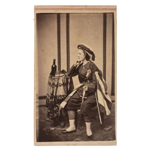 CDV of a Lady Zouave (Vivandiere) in Uniform with Sword