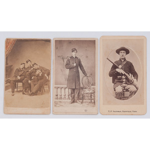 Three CDVs of Union Soldiers, Incl. Group Shot of Four Officers in Repose