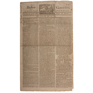 Pre-Revolutionary War Boston Newspaper with Paul Revere Masthead and Reference to the Boston Massacre