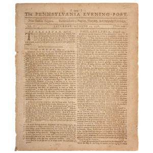 Prisoner Exchange Between Generals Washington and Howe Covered in Pennsylvania Evening Post, 1776