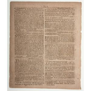 Prisoner Exchange Between Generals Washington and Howe Covered in Pennsylvania Evening Post, 1776
