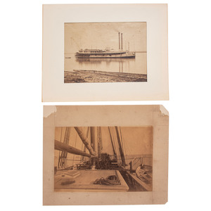 Pair of Warship Albumens Incl. Tinclad USS St. Clair and Shipboard Scene
