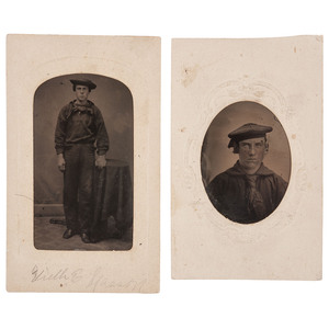 Two CDV Size Mounted Tintypes of Enlisted Sailors, One Identified