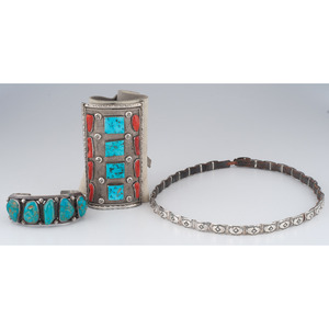 (Cincinnati) Navajo Silver, Turquoise, and Coral Ketoh, Turquoise Cuff Bracelet, AND Silver Concha Hat Band