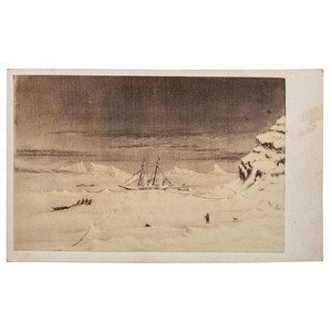 CDV of Oil Painting Port Foulke by Isaac Israel Hayes on Arctic Expedition, Inscribed by Hayes to William Parker Foulke