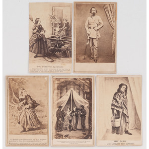 5 CDVs with Confederate Subject Matter, Including Studio Portrait of General Lloyd Tilghman, KIA at the Battle of Champion Hill