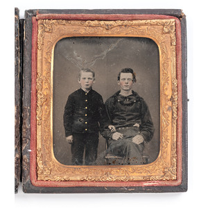Sixth Plate Ambrotype of Navy Sailor with Young Boy