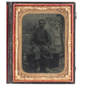Quarter Plate Tintype of 146th NY Volunteer,