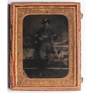 Quarter Plate Tintype of Union Cavalryman