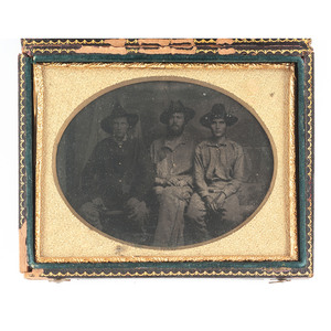 Quarter Plate Tintype of Three Western Theater Union Soldiers