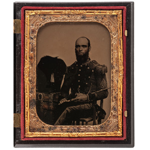 Quarter Plate Ambrotype Portrait of a New York State Militia Sergeant with Sword and Bearskin Cap
