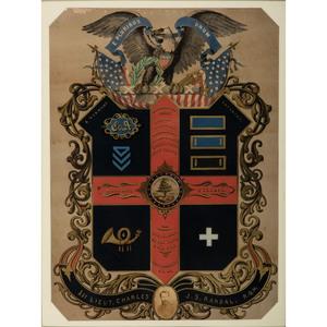 First Lieutenant J.S. Randall, 6th Vermont Volunteers, Civil War Escutcheon and Albumen Photograph