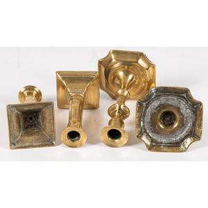 An Assorted Group of Brass Candlesticks