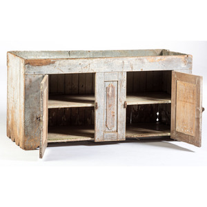 A Zinc-Inset Gray Painted Pine and Poplar Dry Sink