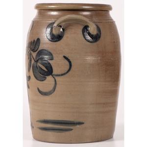 A Four Gallon Cobalt-Decorated Stoneware Jar