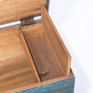 A Chippendale Carved and Blue Painted Poplar Diminutive Blanket Chest