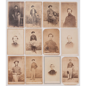 Twelve CDVs of Union Officers and Enlisted Men Taken by Baton Rouge Photographers, Incl. McPherson & Oliver, Bogel & Sheppers, and Keddy