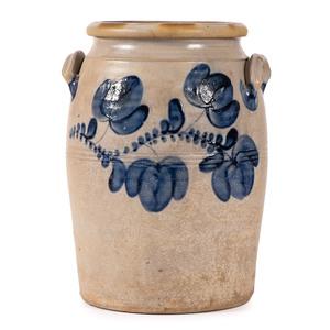 A Three Gallon Floral Cobalt-Decorated Stoneware Jar