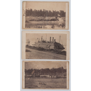 Three CDVs of Mississippi River Squadron Vessels, Incl. USS Osage, Ozark, and Avenger