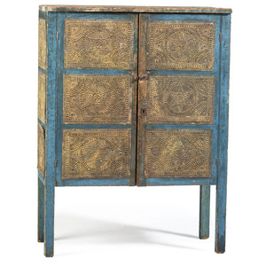 A Country Blue Painted Pine and Punched Sheet Tin Pie Safe