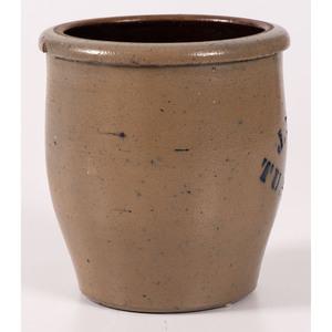 A Fine Pennsylvania Cobalt-Stenciled Stoneware Apple Butter Crock