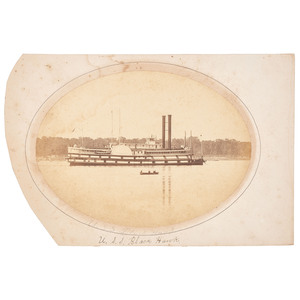 USS Black Hawk, Albumen Photograph of Brown Water Navy Ironclad Gunboat