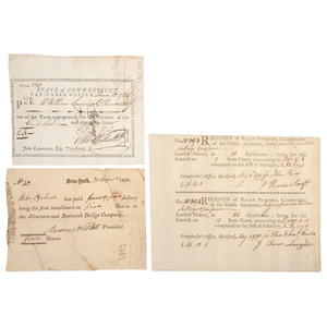 Documents Signed by Revolutionary War and Political Leaders, Incl. Oliver Wolcott and Samuel Wyllys
