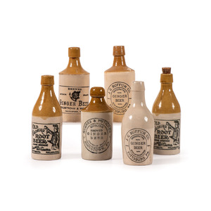 Six Pittsburgh Stoneware Ginger and Root Beer Bottles