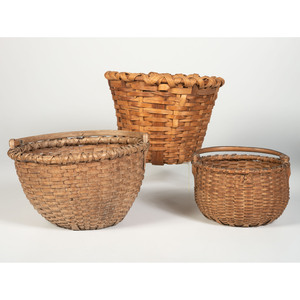 Three Splint Oak and Hickory Baskets
