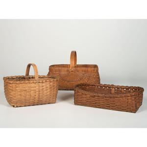 Three Splint Oak Gathering Baskets