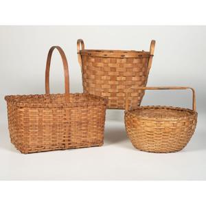 Three Splint Oak Baskets