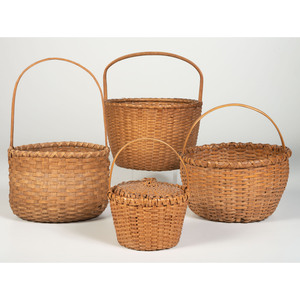 Four Splint Oak Baskets