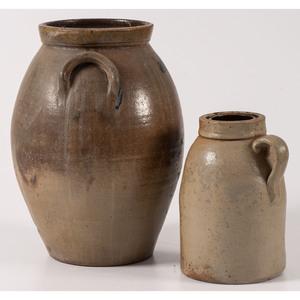 Two Ohio Cobalt-Decorated Stoneware Jars
