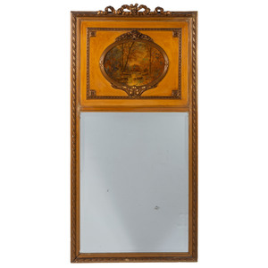 A Trumeau Mirror with Painted Landscape