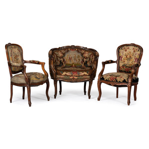 A Louis XV-style Parlor Suite with Needlework Upholstery