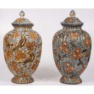 A Pair of Majolica Lidded Urns