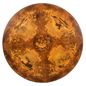 A Continental Inlaid Table with Hunting Scenes