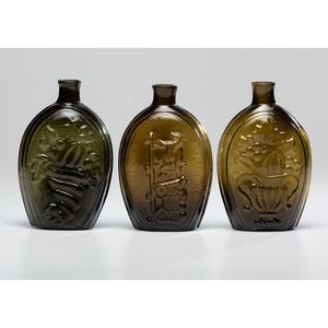 Three Olive Green Glass Flasks