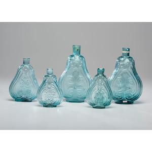 Five Aqua Glass Scroll Flasks