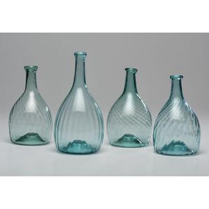 Four Midwestern Aqua Glass Club Bottles