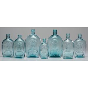 Seven Pittsburgh Aqua Glass Flasks