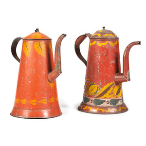 Two Red Painted Toleware Coffee Pots