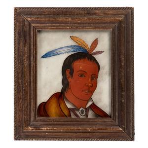 A Folk Art Reverse-Painted Glass Portrait of a Native American