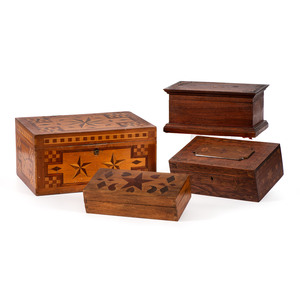 Four Star-Inlaid Wood Boxes