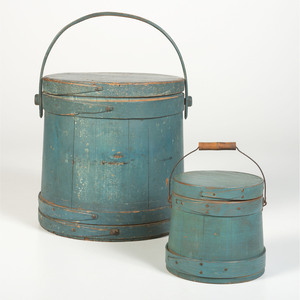 Two Lidded Firkins in Old Blue Paint