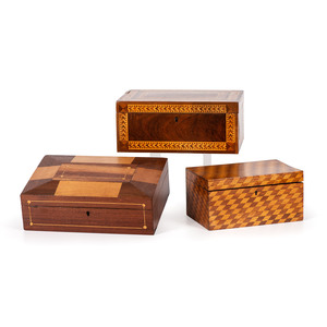 Three Parquetry Decorated Boxes