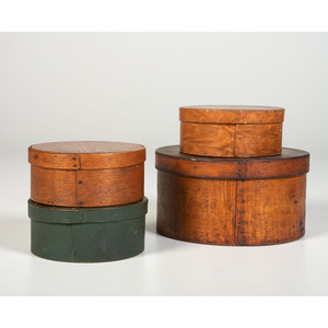 Four Signed Round Bentwood Pantry Boxes